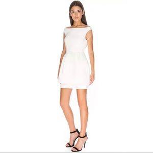 Keepsake Disillusion White Peplum Mini Dress Med